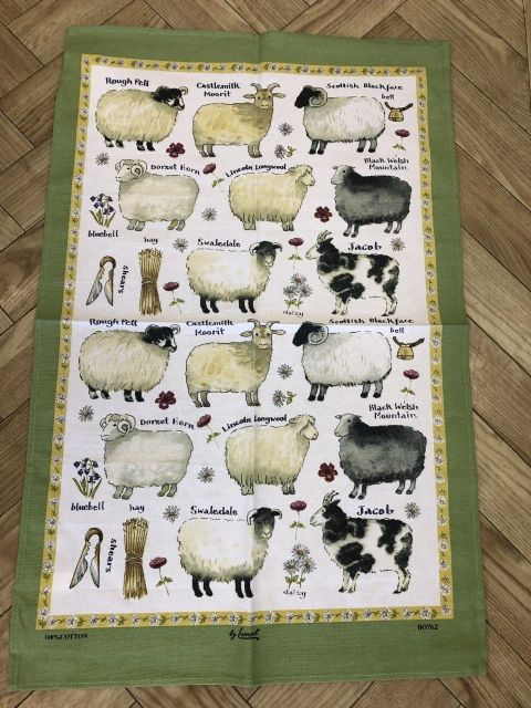 Samuel Lamont Sheep Breeds Irish Tea Towel - 100% Cotton